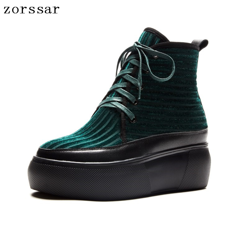 все цены на {Zorssar} Fashion women Booties 2018 New Autumn winter ladies shoes Corduroy Lace up platform ankle boots women flat shoes онлайн