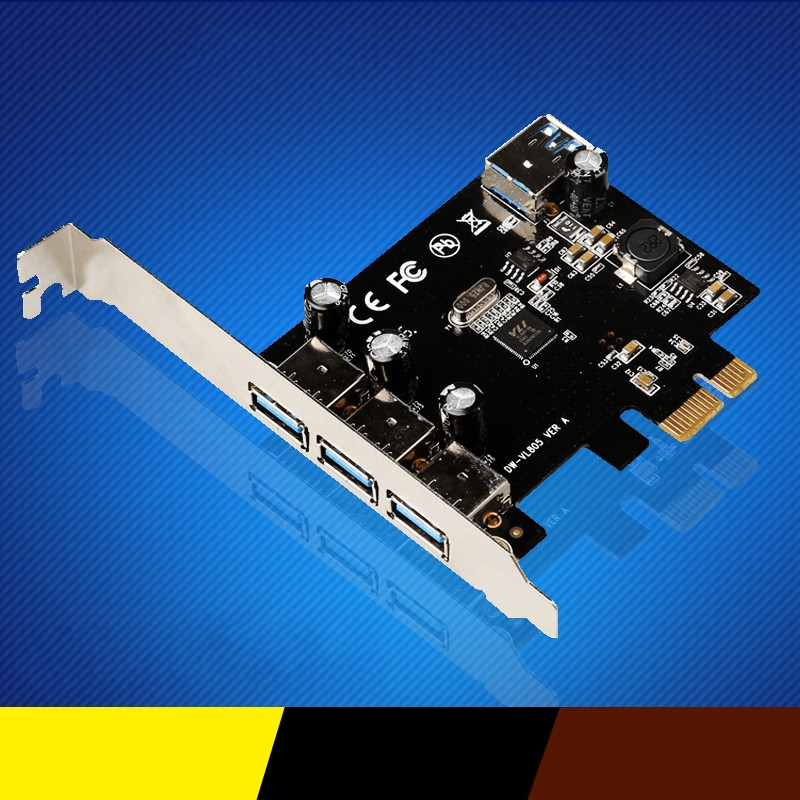Super-Speed 4 Port USB 3.0 PCI-E PCIe PCI Express Expansion Card For Desktop -R179 Drop Shipping