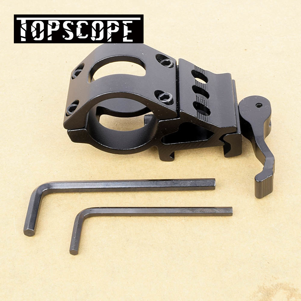 45 Degree Offset Ring Flashlight Holder Mount Fit for 20mm Picatinny/Weaver Rail for 25.4mm 30mm Tube with QD Quick Release Base(China)
