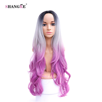 SHANGKE Hair 32 Long Wavy Synthetic Wigs For Black Women Pink Ombre Wig Heat Resistant Synthetic