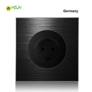 86 type 1 2 3 4 gang 1 2 way black aluminum alloy panel Switch socket light Europe Industry Switch France Germany UK socket led 13