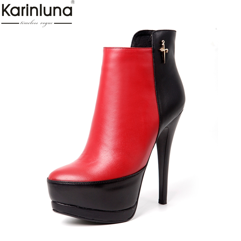 KARINLUNA new brand design genuine cow leather zipper decoration women shoes woman thin high heel ankle boots sexy party boots цена