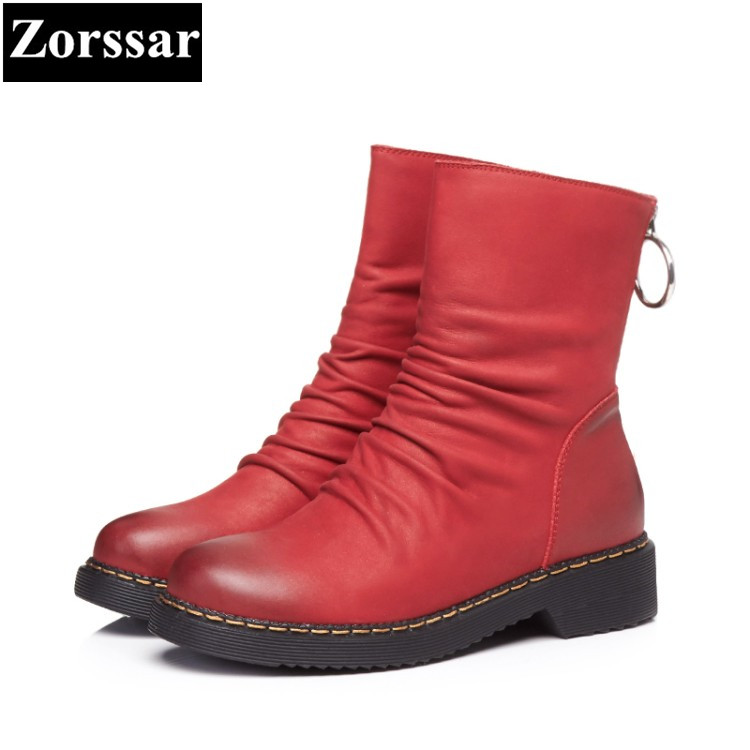 {Zorssar} 2017 NEW arrival winter fur Women Boots Genuine Leather flat heel ankle Boots fashion pleated womens Boots flats shoes 2018 new pleated genuine leather women