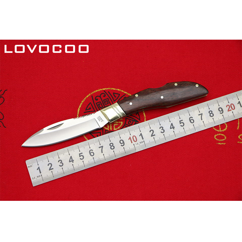 LOCOVOO OEM Canada Gromann Flipper folding knife 9cr18mov blade rosewood handle Outdoor camping hunting pocket knives EDC tools цены