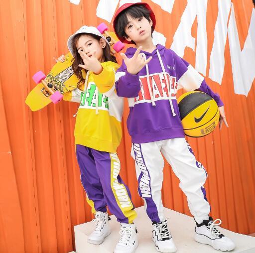 Children Hip Hop Clothes Autumn Boys Girls Hoodies Sweatshirt And Pant Teenage Street Dance Costumes Kids Sport Suit Outfits