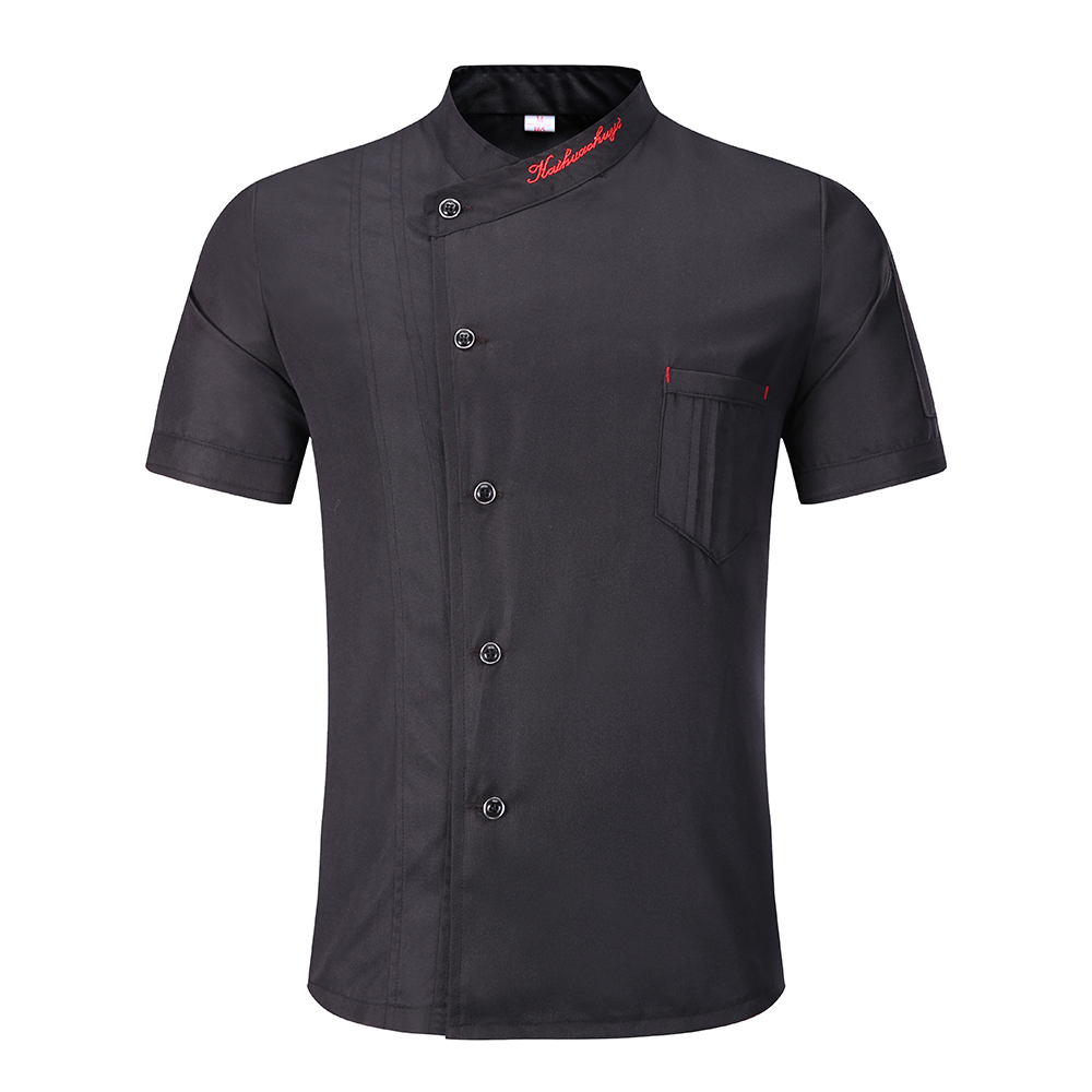 3 Color Wholesale Unisex Kitchen Chef Uniform Bakery Food Service Short Sleeve Breathable Double-breasted  Chef Restaurant Unifo