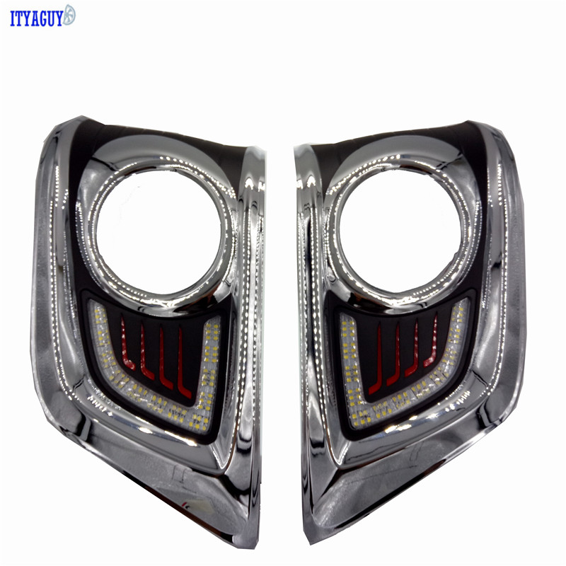Car Styling LED DRL Daytime Running Light Super-bright Fog Lamp For Toyota Hilux Vigo 2012-2016 Car 12V Auto Running lights car drl kit for geely gleagle gx7 2014 led daytime running light bar super bright auto fog lamp daylight car led drl 12v light