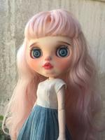 Blythe doll, black curly hair, custom doll for gift, only nude custom doll Excluding clothes.