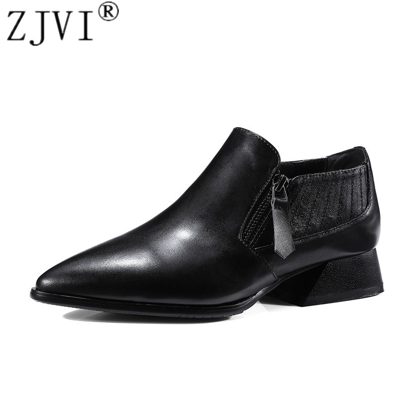 ZJVI women genuine leather pumps woman 3.5cm square heels pointed toe shoes ladies fashion 2018 spring autumn elegant work shoes 3 inch autumn horsehair platform square toe creepers high heels yellow ladies green wedge shoes genuine leather wine red pumps