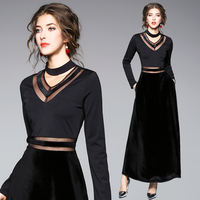Europe Fashion 2018 Spring New Splicing Velvet Dress Sexy Dresses Black Clothes Sexy Party Women Outfit