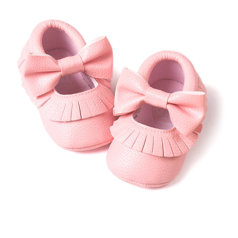 Cute Baby Girl Soft Soled PU Leather Shoes Tassel Bowknot Princess Prewalker Moccasin 0-18M