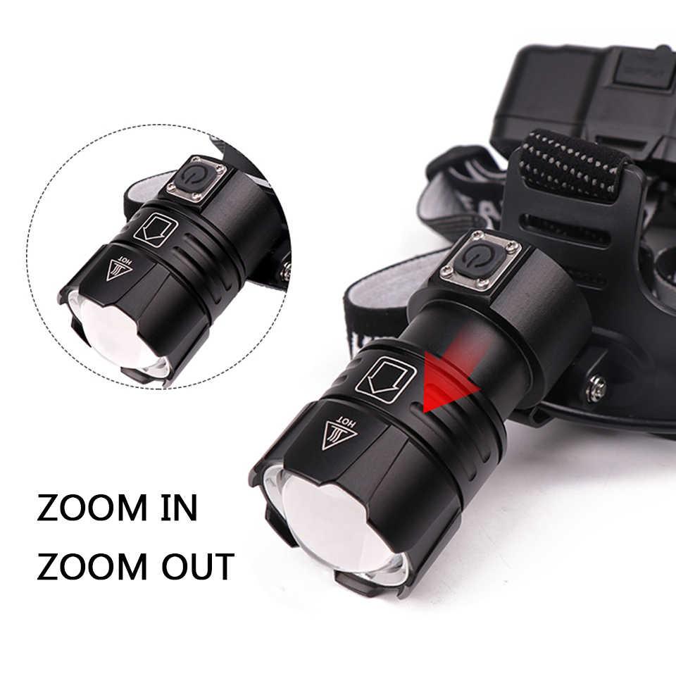Nuevo modelo XHP70.2 32W potente faro Led linterna frontal zoom linterna 7800mah batería 18650