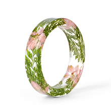 KCALOE NEW Dried Flower Bangles For Women Resin Bracelet Real Rose Baby Breath Flowers Inside Vintage Party Jewelry Bracelets