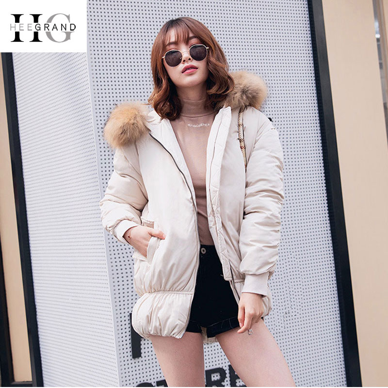 HEE GRAND 2018 Winter Fur Collar   Parkas   Women Loose Jackets Sustans Snow Coats Warm Thickness Feathers Hooded Outwears WWM1686