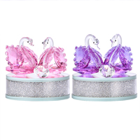 H&D Elegant Crystal Swan Figurine Rhinestone Base Collection Paperweight Table Centerpiece Best for Valentine's Ornament Gift