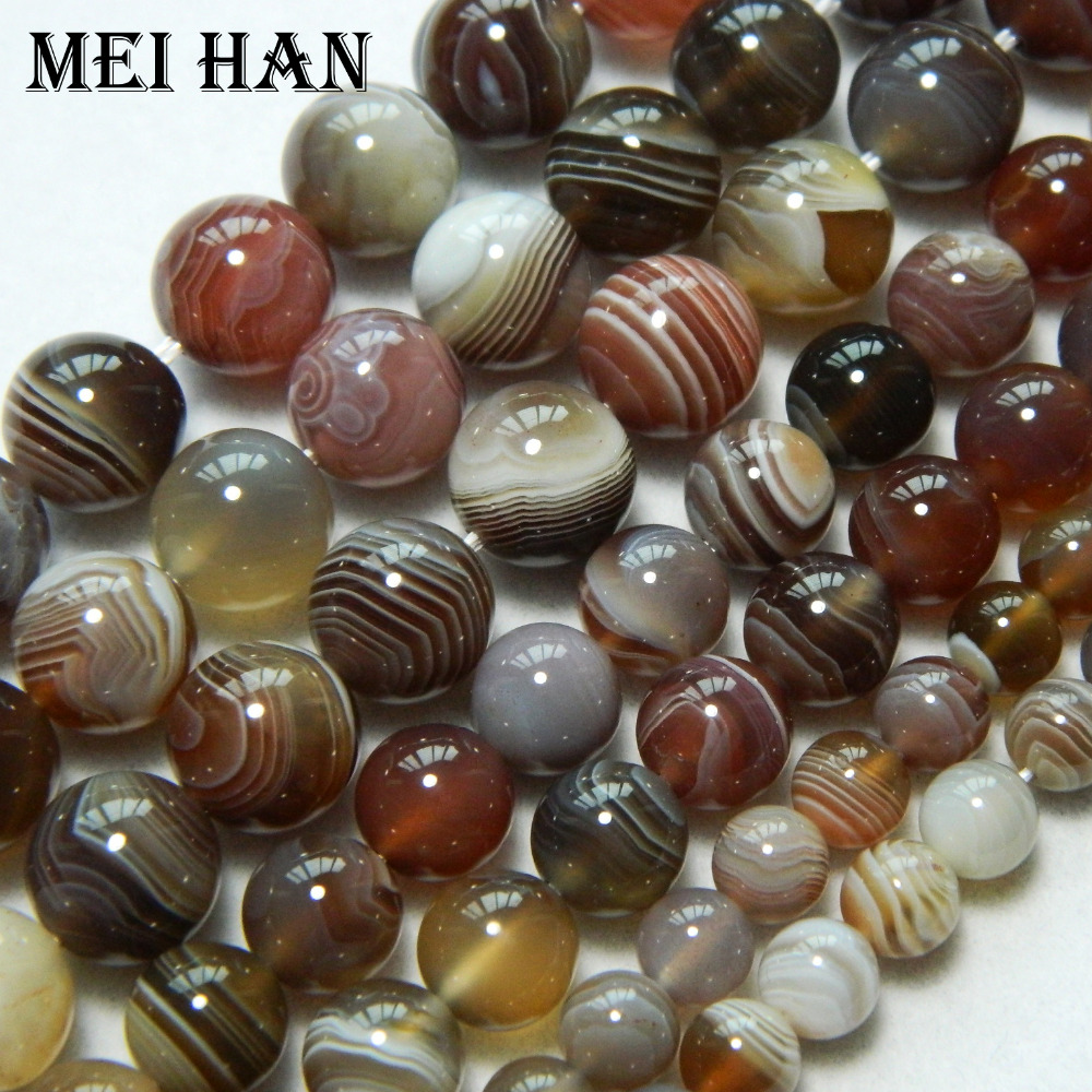 Wholesale Natural 10mm Smooth Round Stone Botswana Agate Jewelry Beads Min Order Is 15