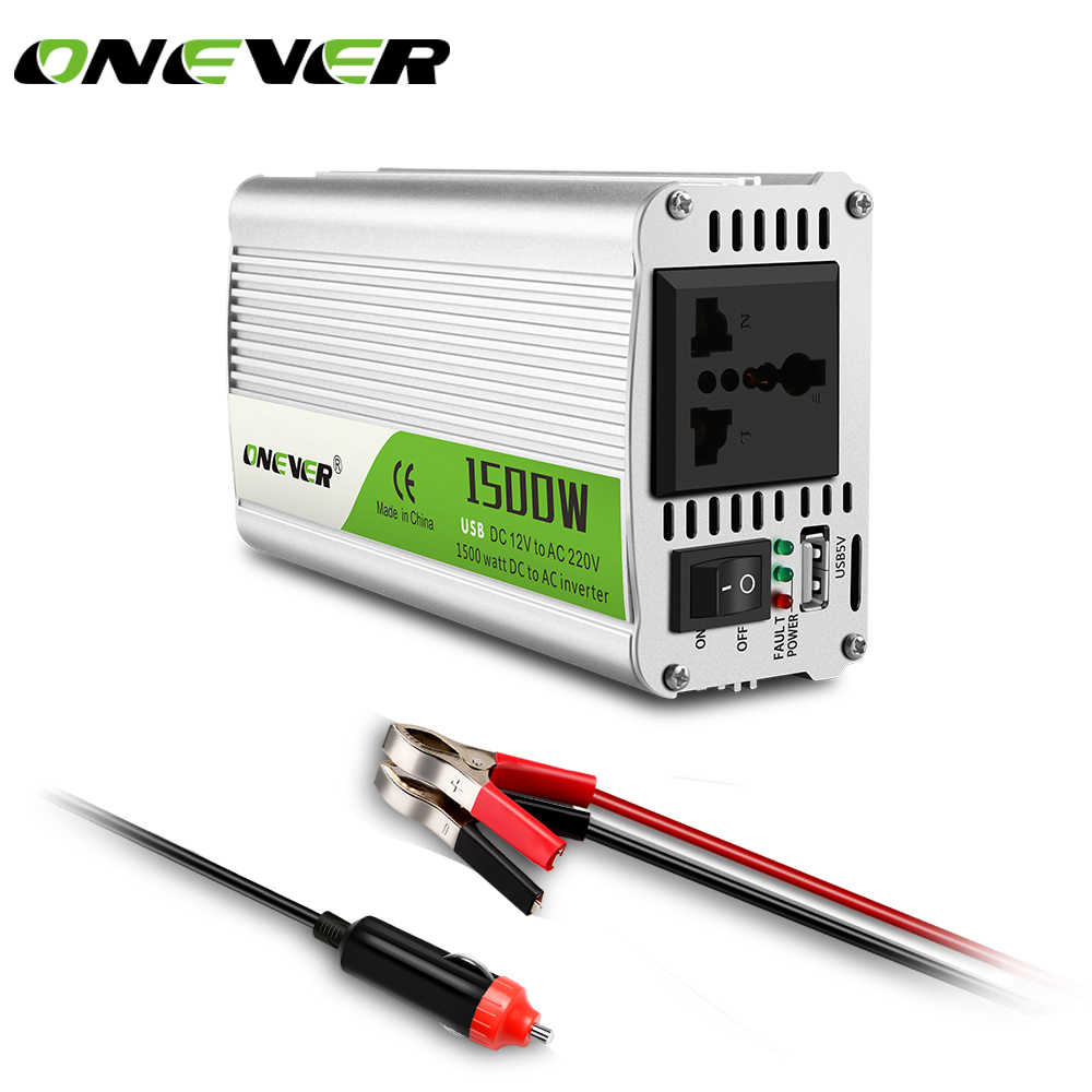 Onever 1500W Car Power Inverter Converter DC 12V to AC 220V Converter Power adapter with USB Port charger Intelligent Fan
