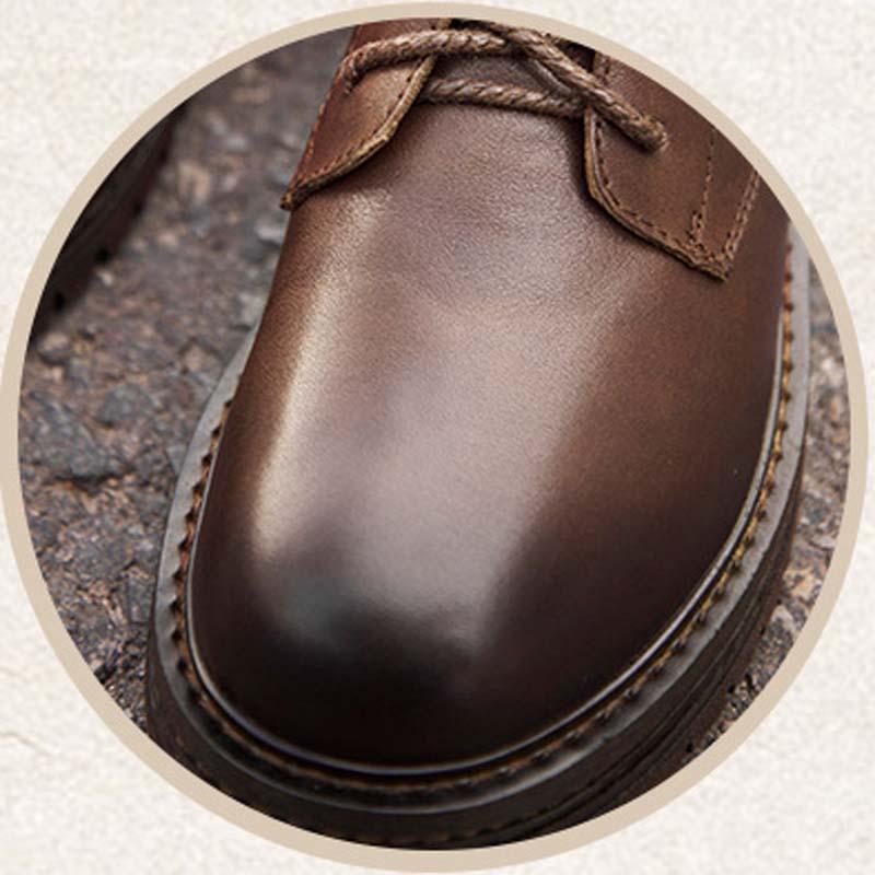 Mano Botas Tubo Cuero A Martin Las Casuales Zapatos Otoño De Negro Capa Salvaje Nuevo Marea Mujeres Hecho brown Primera q4C5EP