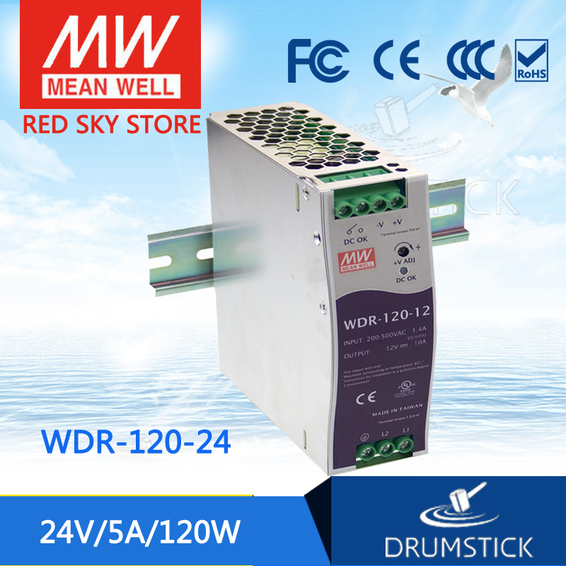 все цены на leading products MEAN WELL WDR-120-24 24V 5A meanwell WDR-120 24V 120W Single Output Industrial DIN RAIL Power Supply [Hot8] онлайн
