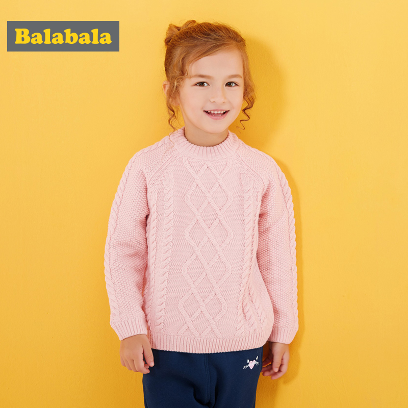 Balabala pullover girls sweater children wool winter clothes thickness warmth solid clothes o-neck princess sweater tops pullover santa applique crew neck sweater