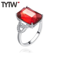 TYTW Crystals from Austrian Pure S925 Silver Wedding Women Girl Rings Red Wedding Anniversary Engagement Fashion Ring Gift