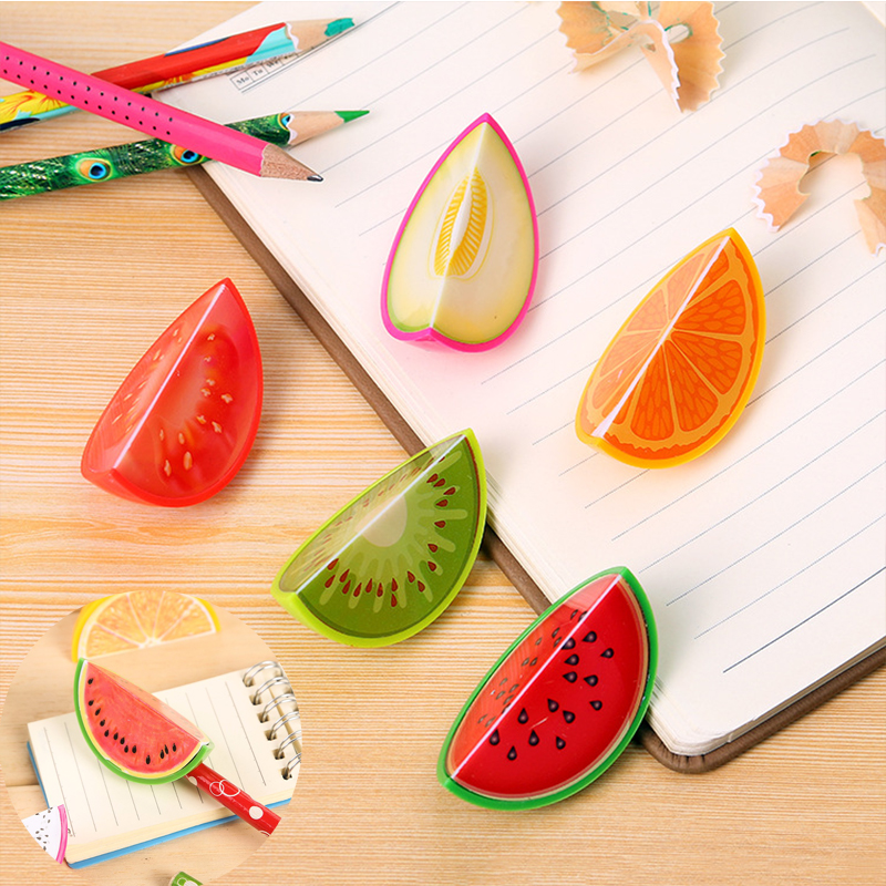 Creative Fruit Pencil Sharpener Kawaii Watermelon Pitaya Orange Pencil Cutting For Kids Student Stationery Gift School Supplies