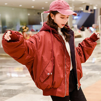 2018 Fashion woman Blue Red Large hooded coat parkas With Siamese Cap Thermal Autumn winter jacket Big Loose Parkas with Zipper