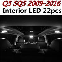 Tcart 22pcs Error Free Auto LED Bulbs Car Interior Lighting Kit Reading lamps Dome Lights For Audi Q5 SQ5 accessories 2009 2016