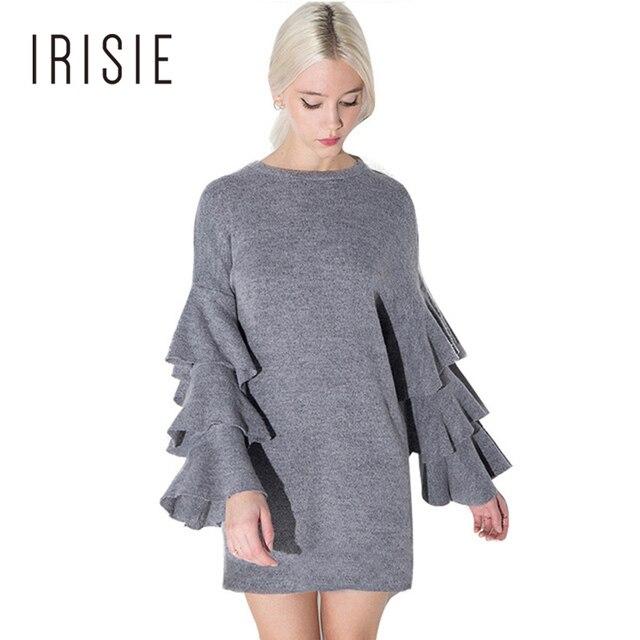 Irisie ropa ropa elegante de la manera ocasional gris con volantes en capas vestidos de manga mini dress delgado shift loose sudadera