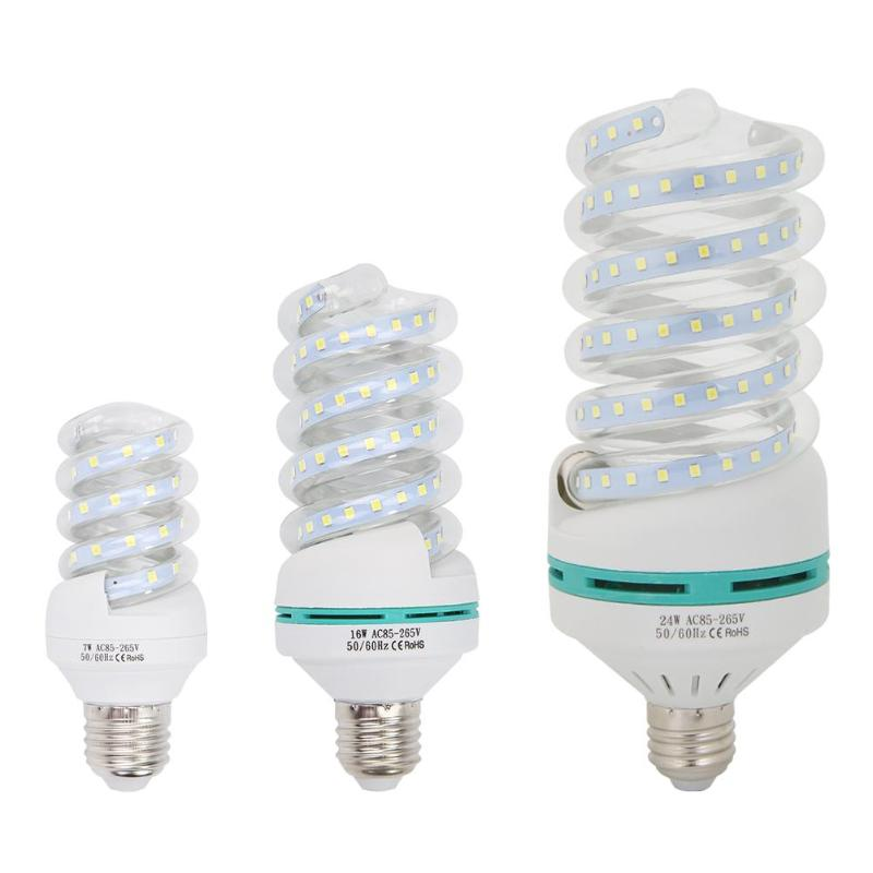 85-265V E27 7W 16W 24W Spiral Tube Energy Saving Lamp LED Light Bulb Tubes 6500K Cold White Fluorescent Light Bulb