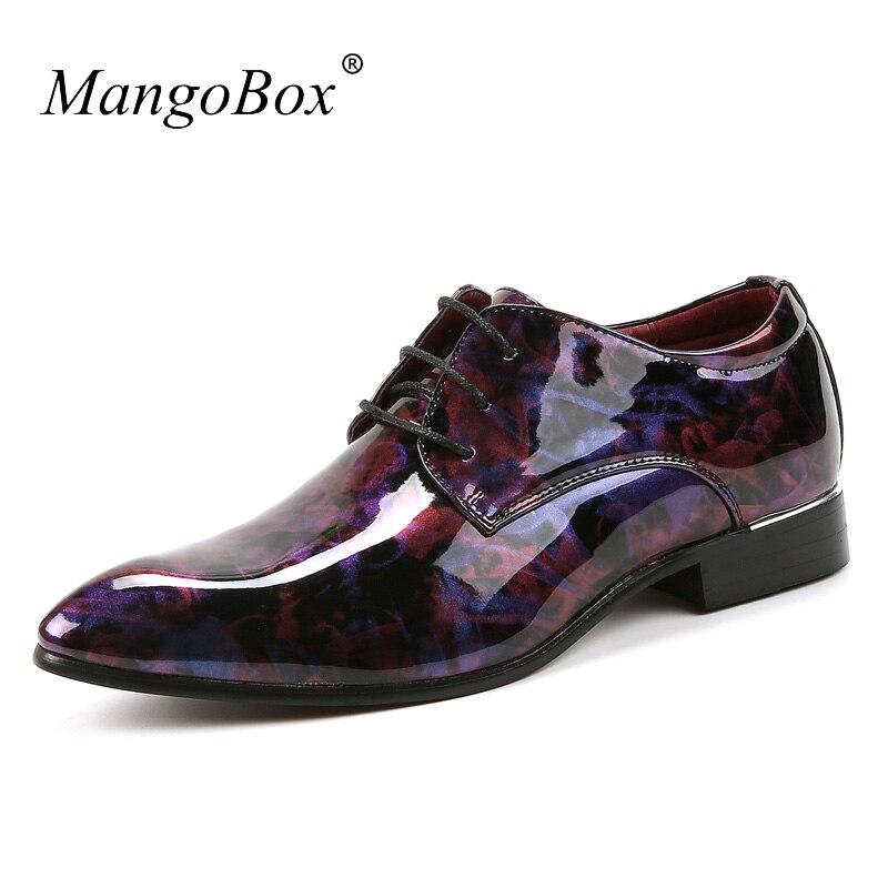 Fashion Groom Wedding Shoes Designer Mens Sneakers Purple Floral Pattern Men Formal Footwear Non-Slip Youth Fashion Mens Shoes