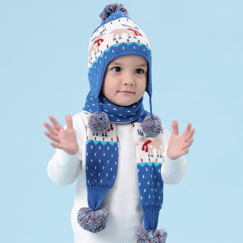 Children Hat Winter Christmas Elk Snowman Printed Hat for Boy Girls Scarf  Warm Kids Ear Flap Cap Crochet Thickened Caps Scarf-in Hats   Caps from  Mother ... b9f1134a9884