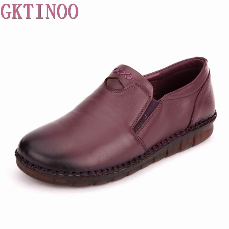 GKTINOO Fashion Women Shoes Genuine Leather Loafers Women Casual shoes Handmade Soft Comfortable Shoes Women Flats gktinoo genuine leather shoes women flats 2018 hollow casual shoes handmade comfortable soft bottom flat shoes moccasins