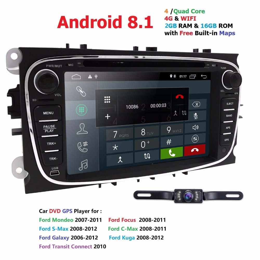 Hizpo Car Multimedia Player Android 8.1 GPS 2 Din car dvd player for FORD/Focus/S-MAX/Mondeo/C-MAX/Galaxy 4Gwifi car radio Audio