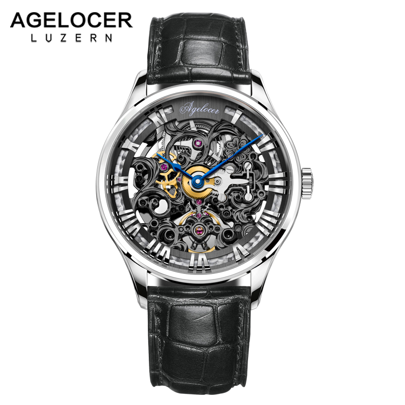 AGELOCER 2018 Skeleton Watch Men Watches Swiss Top Brand Luxury Male Clock Business Mens Wrist Watch Hodinky Relogio Masculino цена и фото