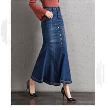 d2eafac86b9 Hiver Denim sirène jupe femmes grande taille décontracté taille haute Denim jupes  crayon Patchwork Stretch Slim hanche jean jupe