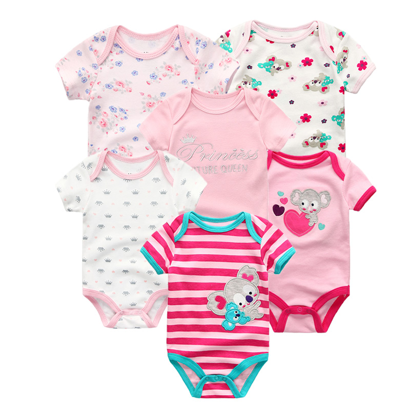 6 Pcs/lot Summer Short Sleeve Baby Romper Set Cotton Baby Jumpsuit Boy Girls Baby Clothes Buy One Get One Free