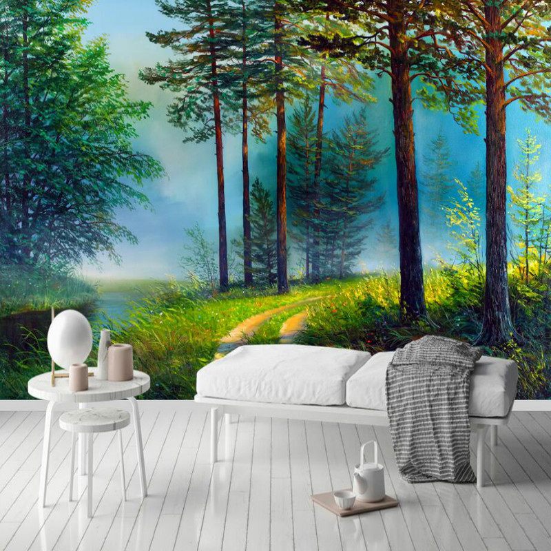 Hand drawn forest river background wallpaper 3d for living room home improvement wallpaper Painting mural silk paper 3d damask wallpaper for walls 3d wall paper mural wallpapers silk for living room bedroom home improvement decorative