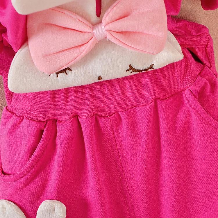 Autumn Kids Girls Baby Infants Children Bow Rabbit Hooded Coats Outwear Sweatshirt+Long Pants 2PCS Casual Clothing Sets MT1473