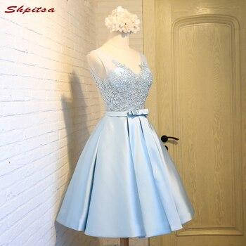 Небесно Голубые короткие кружевные коктейльные платья для вечеринки платье для выпускного с аппликациями 8 класса Выпускные платья
