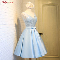 Sky Blue Short Lace Homecoming Dresses Cocktail Prom Dresses Appliques 8 Grade Graduation Dresses Vestido De