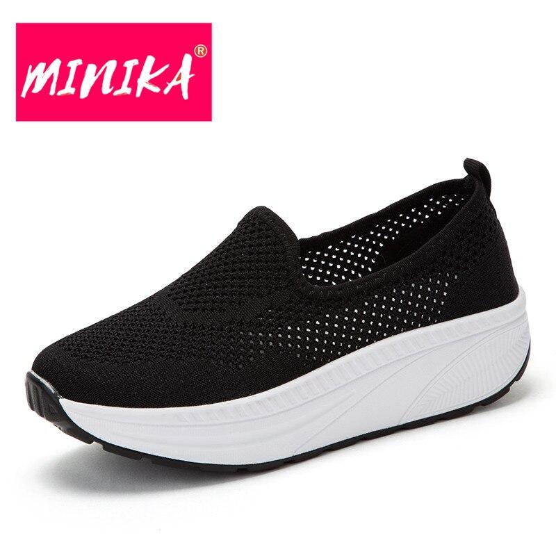 MINIKA רדוד פה נשים נעליים שטוחות מוצק צבעים לנשימה נשים רשת נעלי עבה תחתון האולטרה נשים נעליים יומיומיות