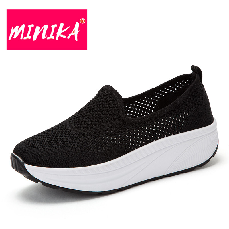 MINIKA Peu Profonde Bouche Femmes Chaussures Plates Solide Couleurs Respirant Femmes Maille Chaussures Fond Épais Ultra-Léger Femmes Casual Chaussures