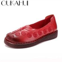 c1a397f85 OUKAHUI Outono Novo Projeto Do Vintage Flat Sapatos Casuais Mulheres 2018  Folk Bordados Feitos À Mão