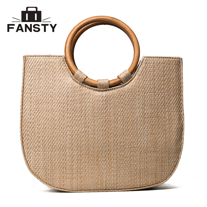 Summer Straw Women beach bag Circle Ring Handbag string waterproof New Casual Female Big Tote Ladies Crossbody Bag for Vocation 2016 rainbow stripes tote bag stylish hollow out beach bag ladies shoulder handbag summer shopping bag for women big m47