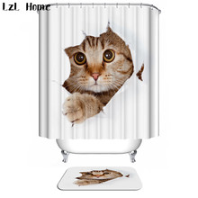 LzL Home 3D Shower Curtain Bath Mat Funny Animal Bathroom Product Set Waterproof Curtains Non-slip Rugs Kids Toilet Decor