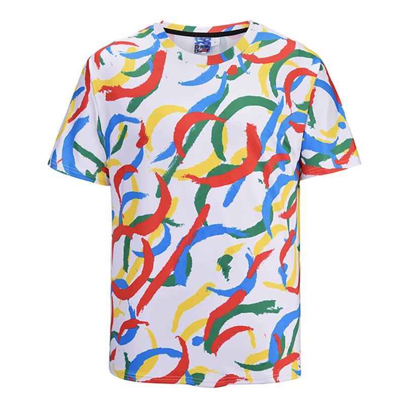 Summer Shirt Wome Graffiti Funny T Shirts Corlorful Print Tee Shirt Harajuku White Short Sleeve Tshirt Femme Plus Size M-2XL