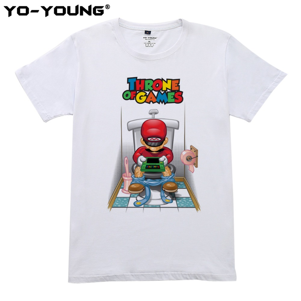 Super Mario Throne OF Game Men T Shirts Funny Design Digital Printing 100% 180gsm Combed Cotton Casual T-shirts Customized