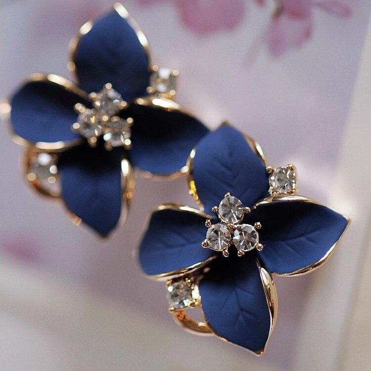Earrings Piercing Elegant Flower Rhinestone Gold-Color Women Blue No Exquisite Noble