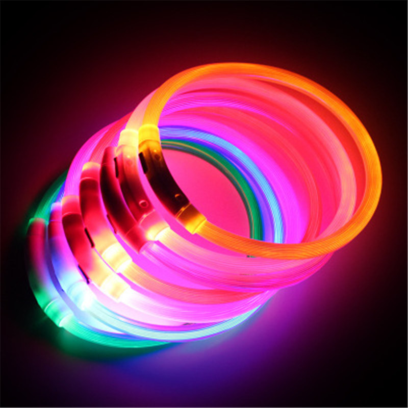 Hot Sale Dog Collar Rechargeable LED Tube Flashing Night Pet Collars Luminous Safety Puppy Cat Collar With Battery